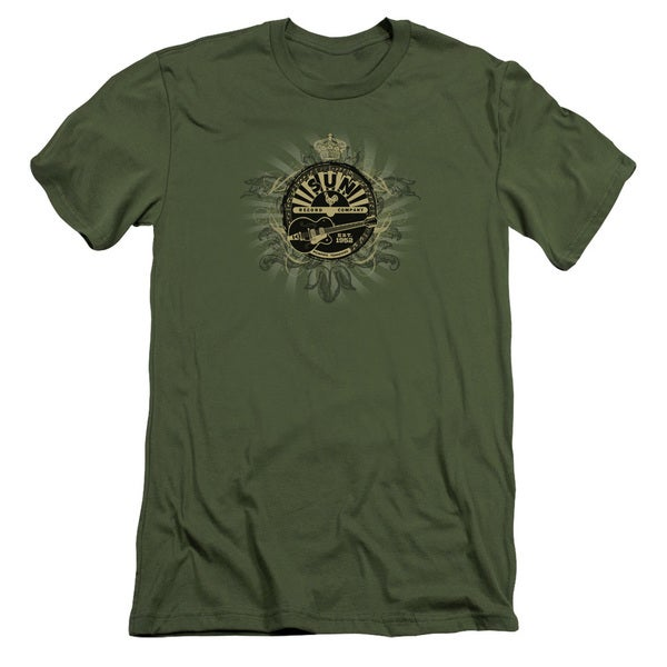 Sun/Rock Heraldry Short Sleeve Adult T-Shirt 30/1 in Military Green