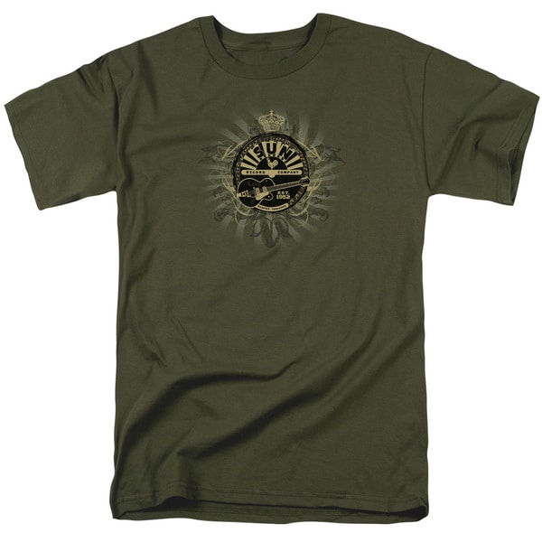Sun/Rock Heraldry Short Sleeve Adult T-Shirt 18/1 in Military Green