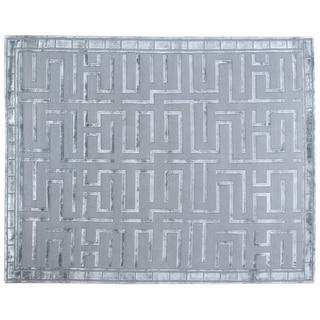Metro Velvet Aqua Wool/Art Silk Rug (9' x 12')