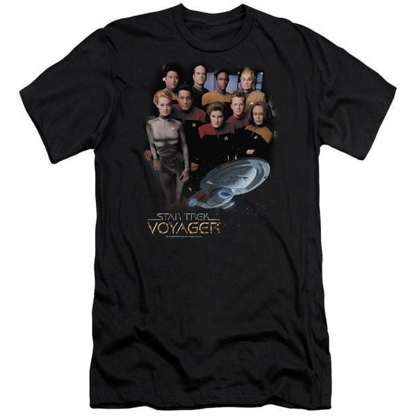 Star Trek/Voyager Crew Short Sleeve Adult T-Shirt 30/1 in Black