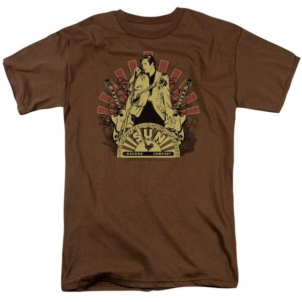 Sun/Elvis Rising Short Sleeve Adult T-Shirt 18/1 in Coffee