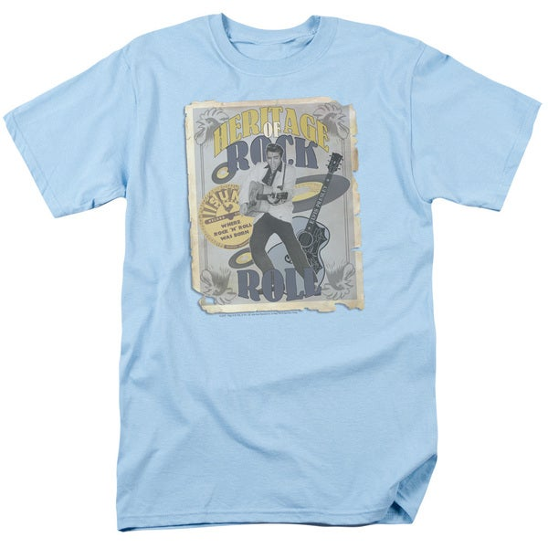 Sun/Heritage Of Rock Poster Short Sleeve Adult T-Shirt 18/1 in Light Blue