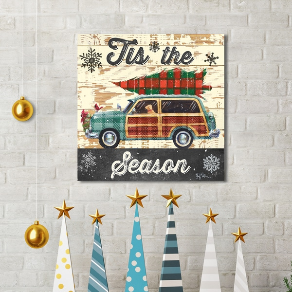 Geoff Allen 'Christmas Plaid Woody' Canvas Print Holiday Wall Art