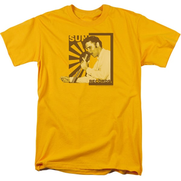 Sun/Sun Records Slvis On The Mic Short Sleeve Adult T-Shirt 18/1 in Gold