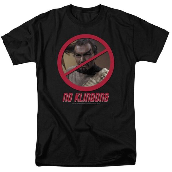 Star Trek/No Klingons Short Sleeve Adult T-Shirt 18/1 in Black