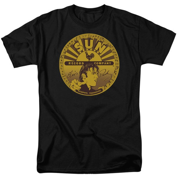 Sun/Elvis Full Sun Label Short Sleeve Adult T-Shirt 18/1 in Black