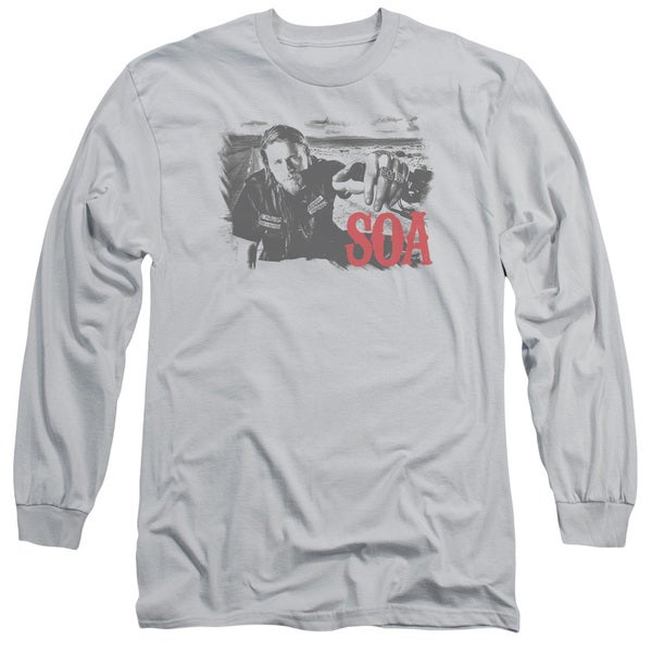 Sons Of Anarchy/Jax Block Long Sleeve Adult T-Shirt 18/1 in Silver 20273759
