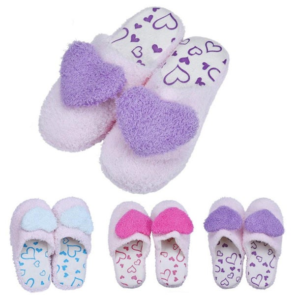 Womens Heart Design Slippers Soft Cotton Padded Slip-on Slipper Rubber Sole