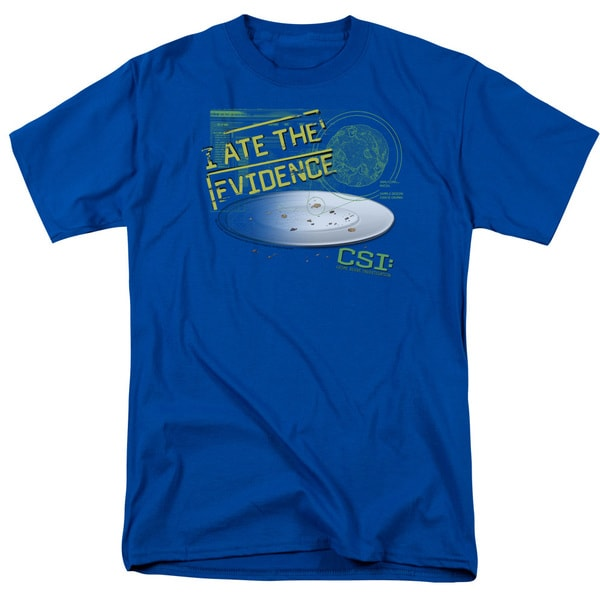 CSI/I Ate The Evidence Short Sleeve Adult T-Shirt 18/1 in Royal