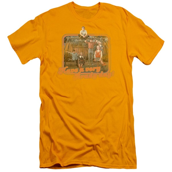 Brady Bunch/Have A Very Brady Day! Short Sleeve Adult T-Shirt 30/1 in Gold