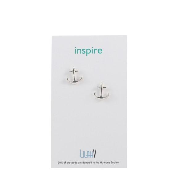 Silver Metal Anchor Stud Earrings