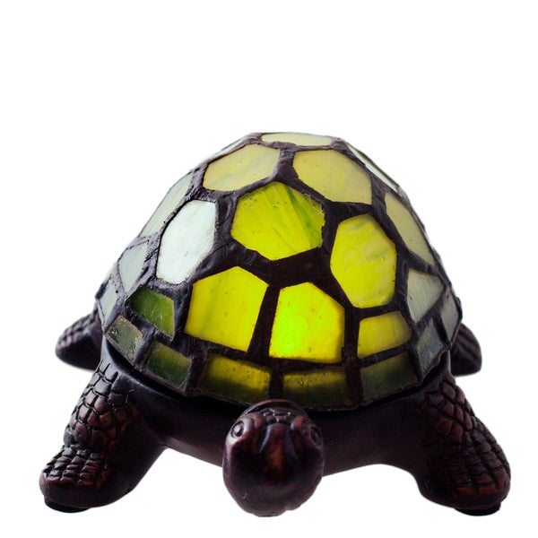 Cordless Battery-operated Stained Glass 2.5-inch Turtle Accent LED Lamp