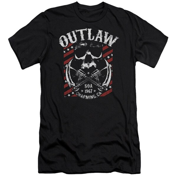 Sons Of Anarchy/Outlaw Short Sleeve Adult T-Shirt 30/1 in Black