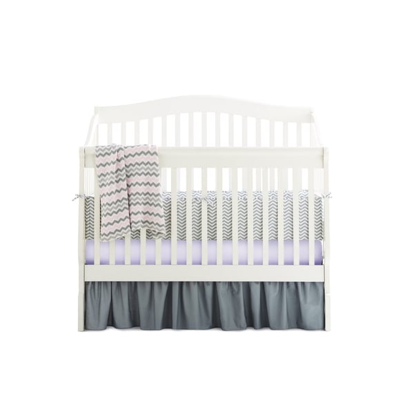 American Baby Company Grey and Pink Cotton Chevron-print 5-piece Crib Bedding Set