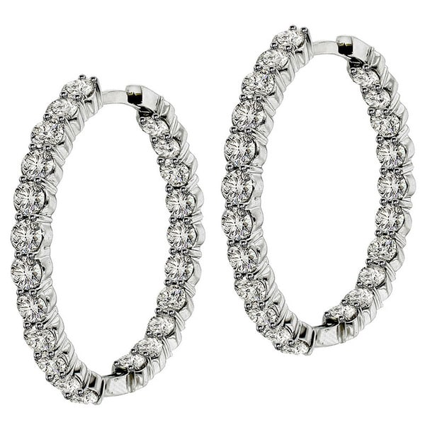 14k/18k White Gold 9ct TDW Diamond Inside / Outside Hoop Earrings (G-H, SI1-SI2)
