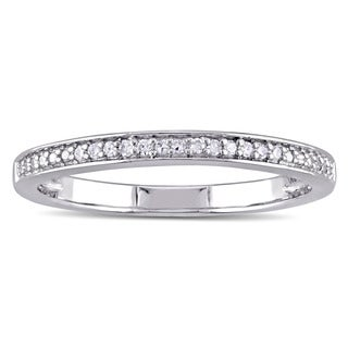 Miadora Sterling Silver Diamond Accent Semi Eternity Wedding Band