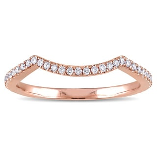 Miadora 14k Rose Gold 1/5ct TDW Diamond Chevron Wedding Band (G-H, I1-I2)