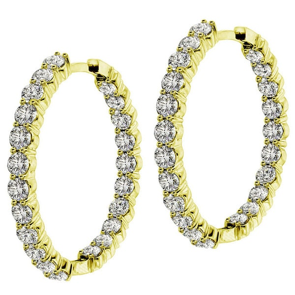 14k/18k Yellow Gold 9ct TDW Diamond Inside / Outside Hoop Earrings (G-H, SI1-SI2)