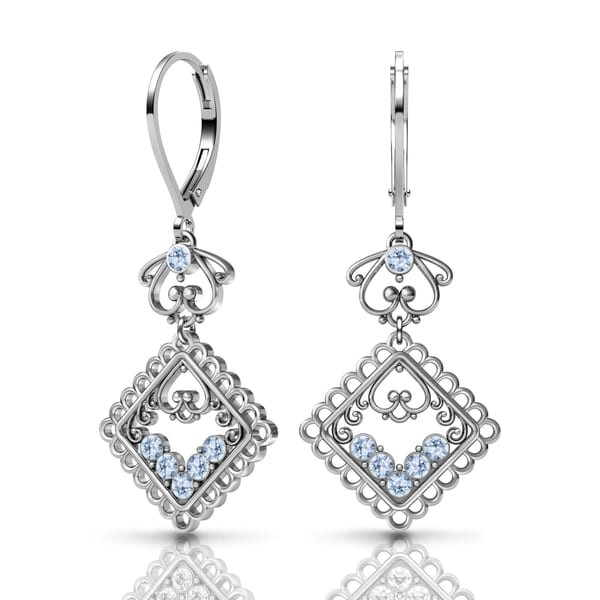Sterling Silver Earrings by Lucia Costin Swarovski Element Crystals 20275561