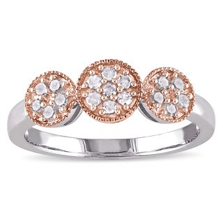 Miadora 2-Tone White and Rose Plated Sterling Silver 1/4ct TDW Diamond-Studded Triple Flower Ring (I-J, I3-I4)