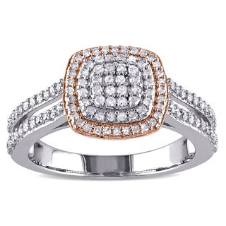Miadora 2-Tone White and Rose Plated Sterling Silver 1/2ct TDW Diamond Grid Halo Split Shank Engagement Ring (I-J, I3-I4)