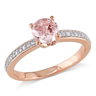 Miadora 10k Rose Gold Morganite and Diamond Accent Semi-Mount Engagement Ring (G-H, I2-I3)