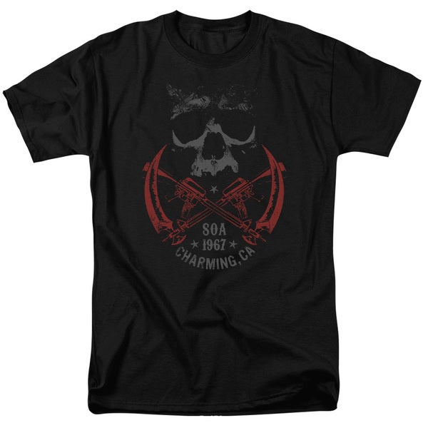 Sons Of Anarchy/Cross Guns Short Sleeve Adult T-Shirt 18/1 in Black