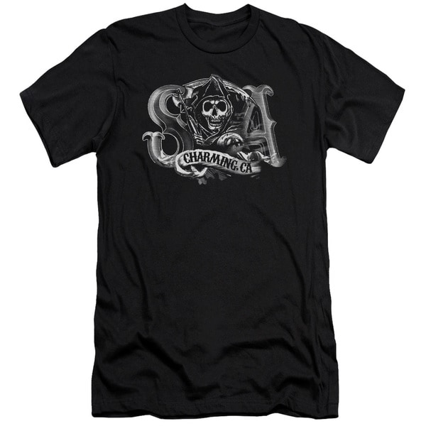 Sons Of Anarchy/Charming Ca Short Sleeve Adult T-Shirt 30/1 in Black