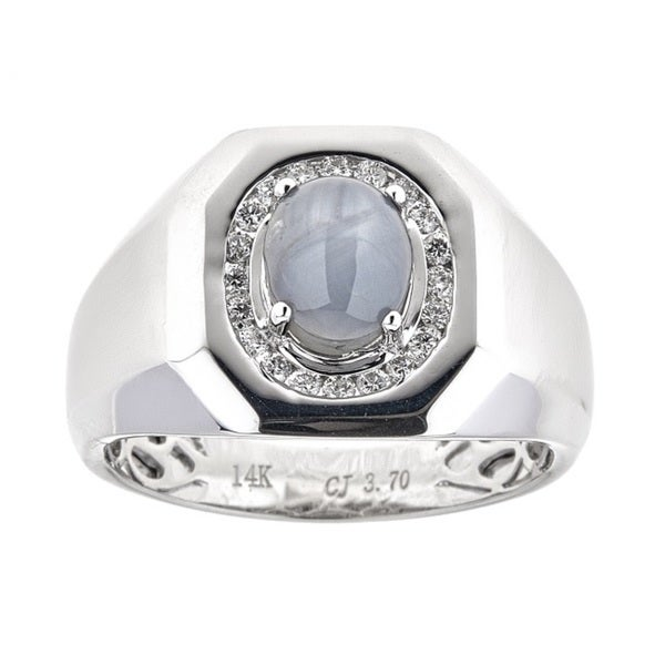 Anika and August Mens 14k White Gold Star Grey Sapphire and Diamond Anniversary Ring