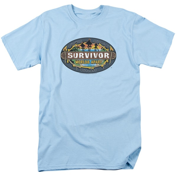 Survivor/Worlds Apart Logo Short Sleeve Adult T-Shirt 18/1 in Light Blue