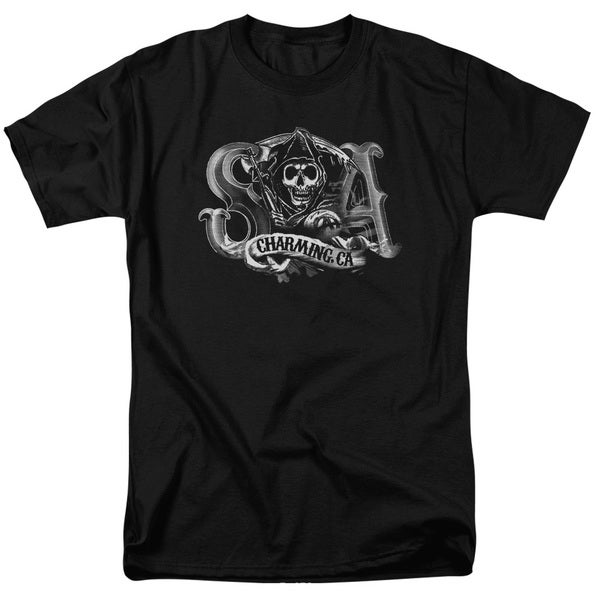 Sons Of Anarchy/Charming Ca Short Sleeve Adult T-Shirt 18/1 in Black