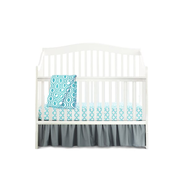 American Baby Company Aqua Blue/Grey Cotton 5-Piece Crib Bedding Set