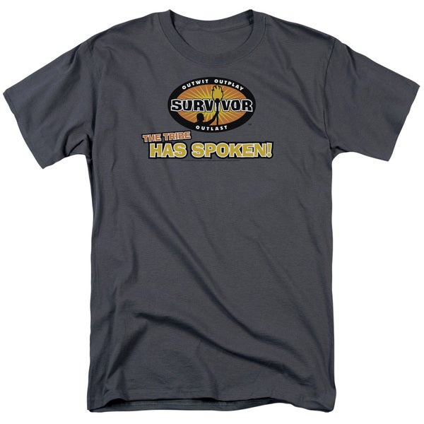 Survivor/Tribe Has Spoken Short Sleeve Adult T-Shirt 18/1 in Charcoal
