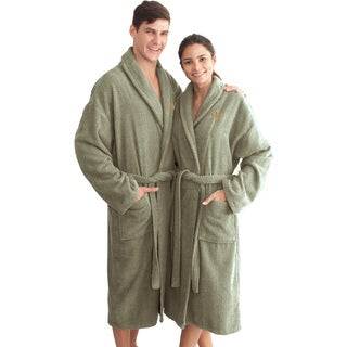 Authentic Hotel and Spa Sage Green with Gold Monogrammed Herringbone Weave Turkish Cotton Unisex Bath Robe