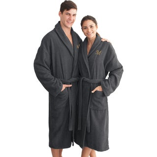 Authentic Hotel and Spa Charcoal Grey with Gold Monogrammed Herringbone Weave Turkish Cotton Unisex Bath Robe