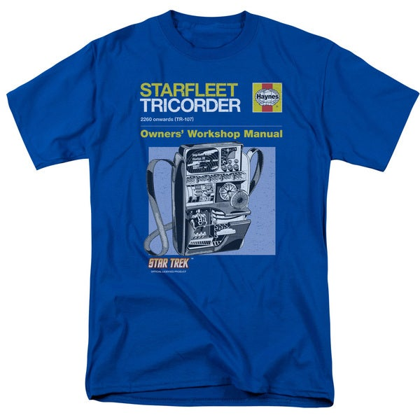Star Trek/Tricorder Manual Short Sleeve Adult T-Shirt 18/1 in Royal Blue