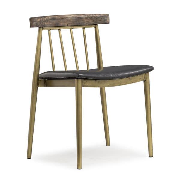 Alfie Brown Pine/Faux Leather/Steel Chair