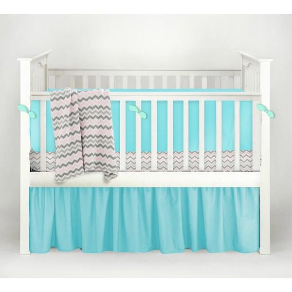 American Baby Company Pink/White Cotton Chevron 4-piece Baby Crib Bedding Set