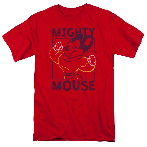 Mighy Mouse/Break The Box Short Sleeve Adult T-Shirt 18/1 in Red