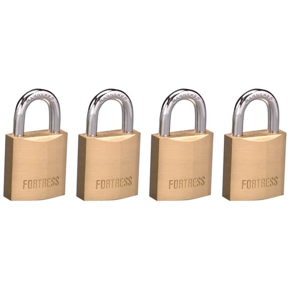 "Fortress 1820Q 3/4"" Solid Brass Padlock 4-count"