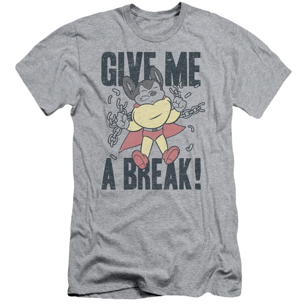 Mighty Mouse/Give Me A Break Short Sleeve Adult T-Shirt 30/1 in Athletic Heather