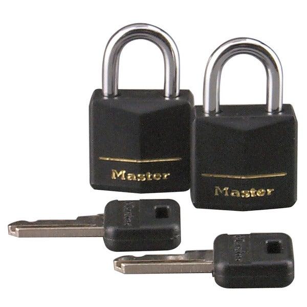 "Master Lock 121T 3/4"" Black Vinyl Cover Brass Padlock 2-count"