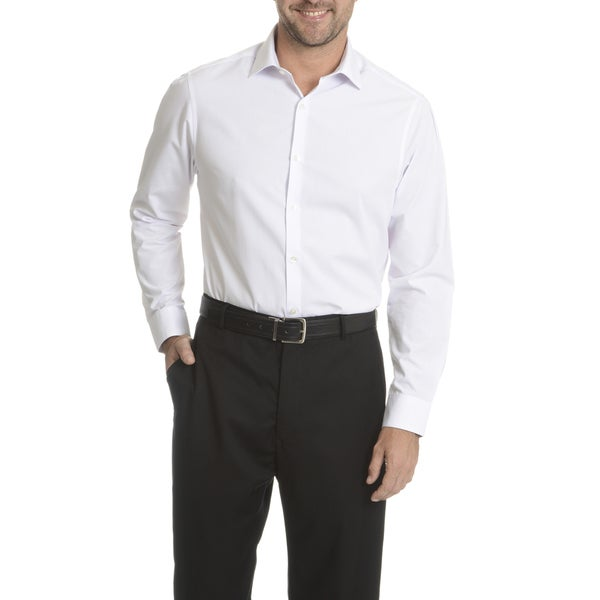 Perry Ellis Men's White Cotton/Polyester Slim Fit Wrinkle-free Dress Shirt
