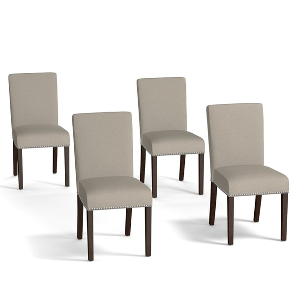 Portfolio Brisbane Taupe Linen Upholstered Dining Chairs Set Of 4 1931908