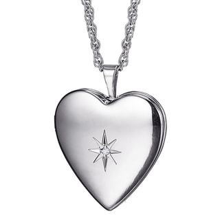 Sterling Silver Diamond Accent Heart Locket with 20-inch Chain
