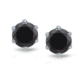 Auriya 14k Gold 2ct TDW 6-Prong Push-Back Round-Cut Black Diamond Stud Earrings