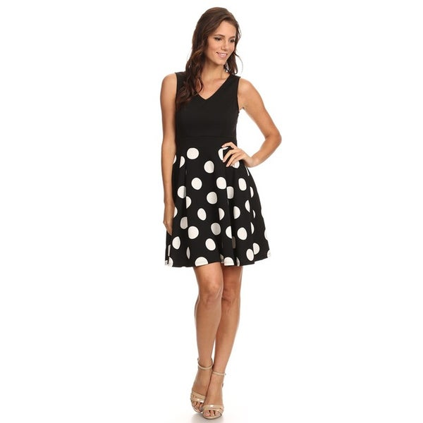 Women's Polka Dot Sleeveless Flare Dress