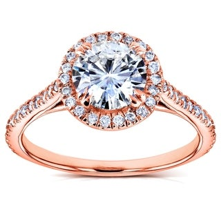 Annello 14k Rose Gold Round Moissanite and 1/4ct TDW Diamond Halo Engagement Ring (G-H, I1-I2)