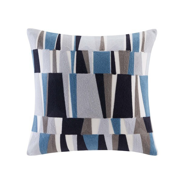 INK+IVY Lars Blue Cotton Embroidered Stripe Decorative Throw Pillow