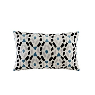 INK+IVY Auden Blue Cotton Embroidered Ogee Ikat Decorative Throw Pillow
